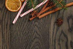 Christmas decorations on old oak table Stock Photos