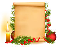 Christmas decorations on the old paper. Stock Photo