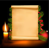 Christmas decorations on the old paper. Stock Images
