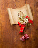 Christmas decorations and old paper with copyspace Stock Photo