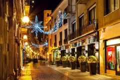Christmas decorations in Old Town of Alba. royalty free stock photo