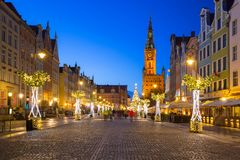 Christmas decorations in the old town of Gdansk, Poland. GDANSK, POLAND - DECEMBER 8, 2017: Christmas decorations in the old town of Gdansk, Poland. Gdansk is Royalty Free Stock Photography