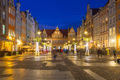 Christmas decorations in the old town of Gdansk, Poland. GDANSK, POLAND - DECEMBER 8, 2017: Christmas decorations in the old town of Gdansk, Poland. Gdansk is Royalty Free Stock Images