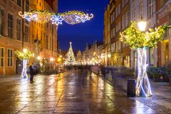 Christmas decorations in the old town of Gdansk, Poland. Gdansk, Poland - December 8, 2017: Christmas decorations in the old town of Gdansk, Poland. Gdansk is Stock Images