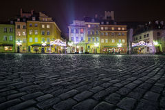 Christmas decorations on the old town of Warsaw Royalty Free Stock Image
