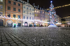 Christmas decorations on the old town of Warsaw Stock Photography