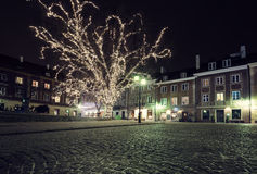 Christmas decorations on the old town of Warsaw Stock Photo