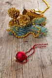 Christmas decorations on old wood Stock Photos