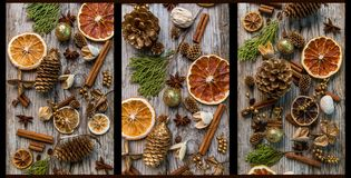Christmas decorations with cinnamon and dried orange slices Royalty Free Stock Photo
