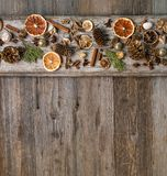 Christmas decorations with cinnamon and dried orange slices Royalty Free Stock Image
