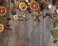 Christmas decorations with cinnamon and dried orange slices Stock Image