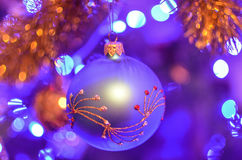 Christmas Decorations On The Branches Fir Royalty Free Stock Photos