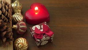 Christmas decorations and ornament on wooden background stock video footage