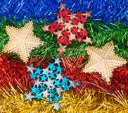 Christmas decorations and ornaments on colorful background Stock Image