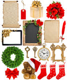 Christmas decorations, ornaments, flowers and gifts Stock Photography