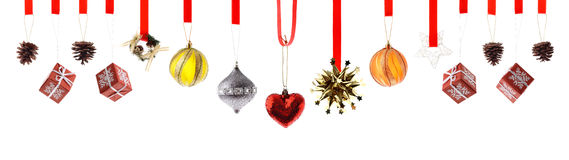 Christmas decorations and ornaments isolated Royalty Free Stock Photo