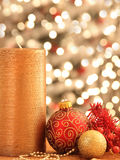 Christmas decorations with ornaments and lights. Christmas decorations with ornaments Royalty Free Stock Photo