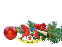 Christmas Decorations. Christmas ornaments on white background Royalty Free Stock Photo