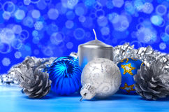 Christmas decorations over blue Stock Image