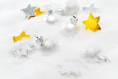 Christmas decorations over snow Stock Photos