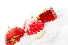 Christmas decorations over snow Stock Photography