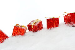 Christmas decorations over snow Royalty Free Stock Photography