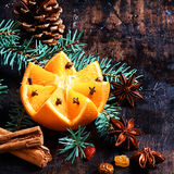 Christmas Decorations Over Vintage Wooden Table Royalty Free Stock Photo