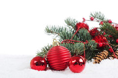 Christmas Decorations over white Stock Photos
