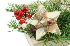 Christmas decorations over white Stock Images