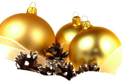 Christmas decorations over white background Royalty Free Stock Photos