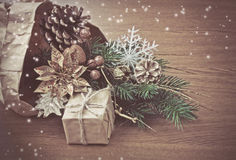 Christmas decorations in package wrapping paper Royalty Free Stock Photos