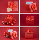 Christmas decorations and paper card on red background Royalty Free Stock Photo