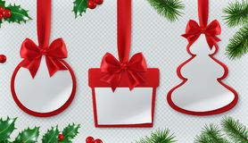 Christmas decorations. Paper cards 3d vector set royalty free illustration