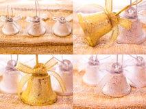 Christmas decorations photo set- jingle bells. A photo collage of some Christmas decorations stock photos