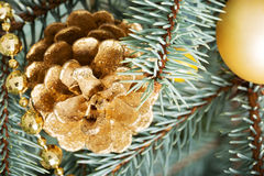 Christmas decorations- pine, balls on a tree. Royalty Free Stock Images