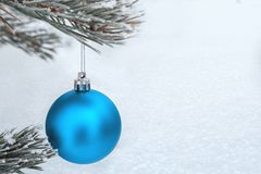 Christmas decorations on the pine branch Stock Photos