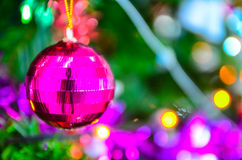 Christmas decorations and pine branch Stock Images