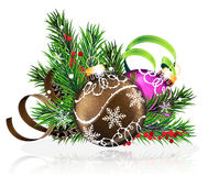 Christmas decorations with pine branches and tinsel. Christmas decorations with pine branches, cones and tinsel on white background Stock Images