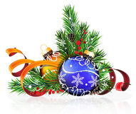 Christmas decorations with pine branches and tinsel. Christmas decorations with pine branches, cones and tinsel on white background Royalty Free Stock Photo