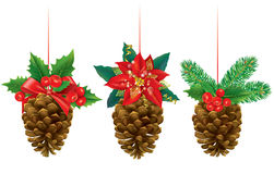 Christmas decorations from pine cones Stock Photos