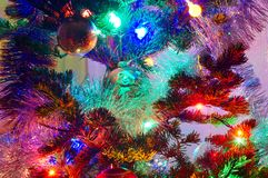 Christmas decorations on pine Royalty Free Stock Images