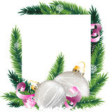 Christmas decorations and pine tree wreath. Silver baubles, pink ribbons and fir branches on a white background. Abstract Christmas Stock Images