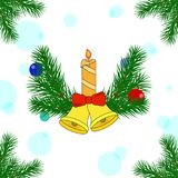 Christmas decorations of pine trees. With bells and a candle. New Year card. Vector illustration Stock Illustration