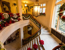 Christmas Decorations in Pittock Mansion. Famous museum in Portland, Oregon, Pittock Mansion decorated for Christmas stock photography