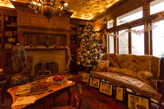 Christmas Decorations in Pittock Mansion. Famous museum in Portland, Oregon, Pittock Mansion decorated for Christmas royalty free stock photo