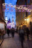 Christmas Decorations on Piwna Street in Warsaw Royalty Free Stock Images