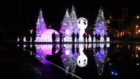 Christmas decorations at Plaza Massena stock video