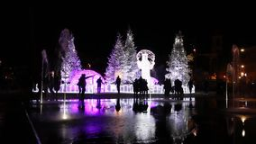 Christmas decorations at Plaza Massena stock video footage