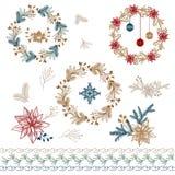 Christmas decorations. Poinsettia & Mistletoe. Illustration set of christmas decorations. Needle wrest with Poinsettia & Mistletoe vector illustration