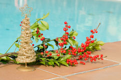 Christmas decorations in the pool Royalty Free Stock Images